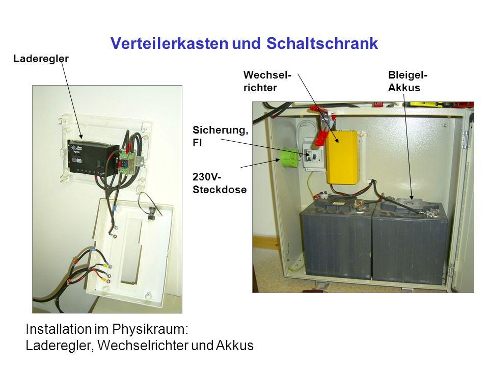 Verteilerkasten und Schaltschrank Installation im Physikraum: Laderegler, Wechselrichter und Akkus Laderegler Wechsel- richter Bleigel- Akkus Sicherun