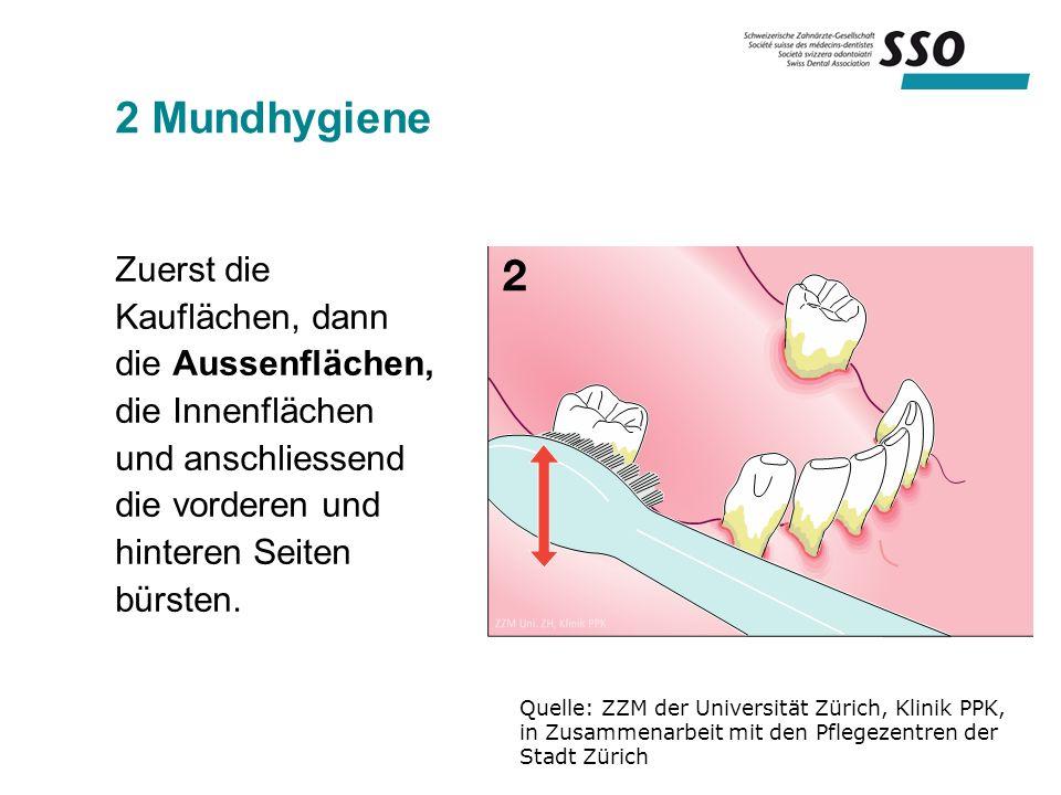 2 Mundhygiene Zuerst die Kauflächen, dann die Aussenflächen, die Innenflächen und anschliessend die vorderen und hinteren Seiten bürsten.