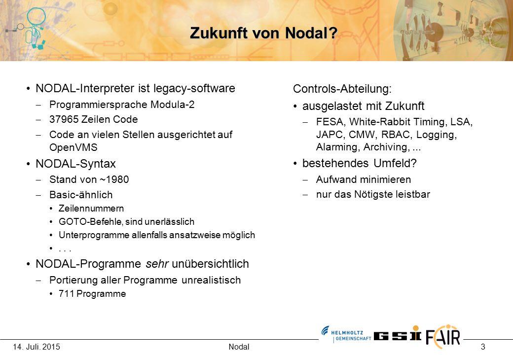 14.Juli. 2015 Nodal 4 Aktuelle Kontrollsystemumgebung Linux  C, C++  Java  Python ...
