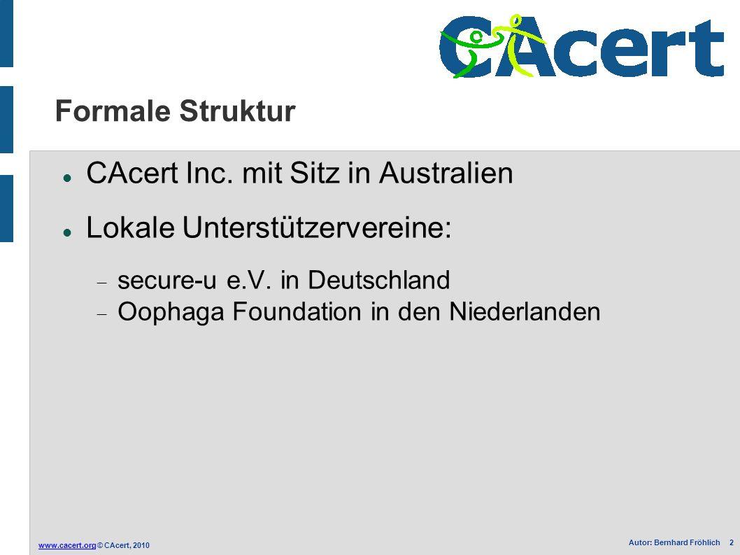 www.cacert.orgwww.cacert.org © CAcert, 2010 Autor: Bernhard Fröhlich 2 Formale Struktur CAcert Inc. mit Sitz in Australien Lokale Unterstützervereine: