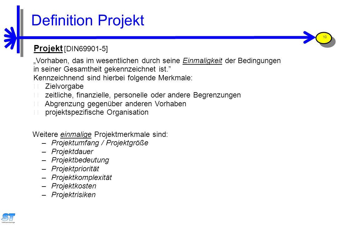 """Prof. Uwe Aßmann, Softwaremanagement 10 Projekt [DIN69901-5] """"Vorhaben, das im wesentlichen durch seine Einmaligkeit der Bedingungen in seiner Gesamth"""