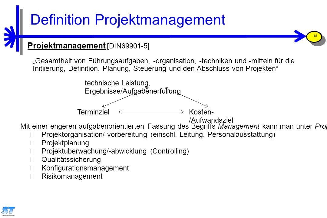 Prof. Uwe Aßmann, Softwaremanagement 16 Projektmanagement [DIN69901-5] technische Leistung, Ergebnisse/Aufgabenerfüllung TerminzielKosten- /Aufwandszi