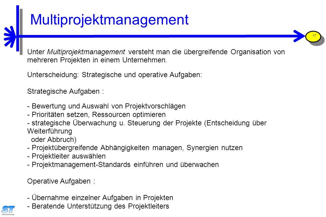 Prof. Uwe Aßmann, Softwaremanagement 17 Unter Multiprojektmanagement versteht man die übergreifende Organisation von mehreren Projekten in einem Unter