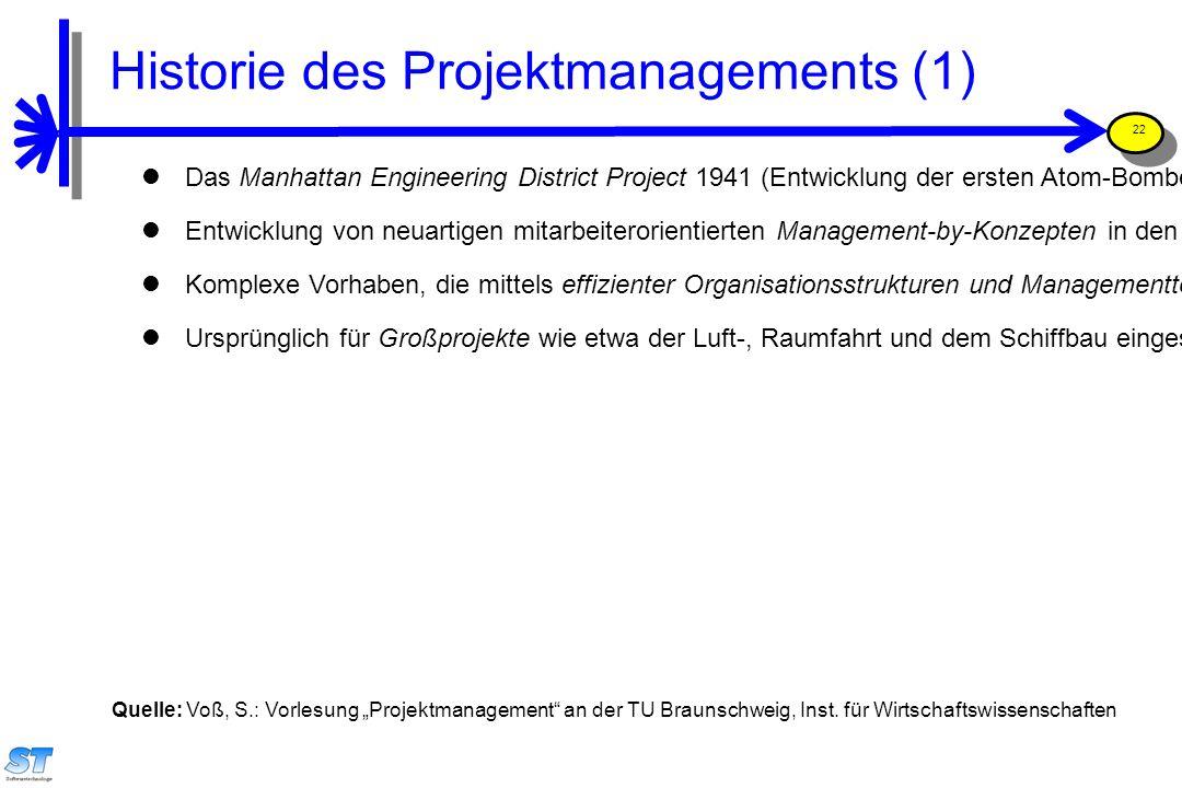 Prof. Uwe Aßmann, Softwaremanagement 22 Das Manhattan Engineering District Project 1941 (Entwicklung der ersten Atom-Bombe) gilt als entscheidende Anf