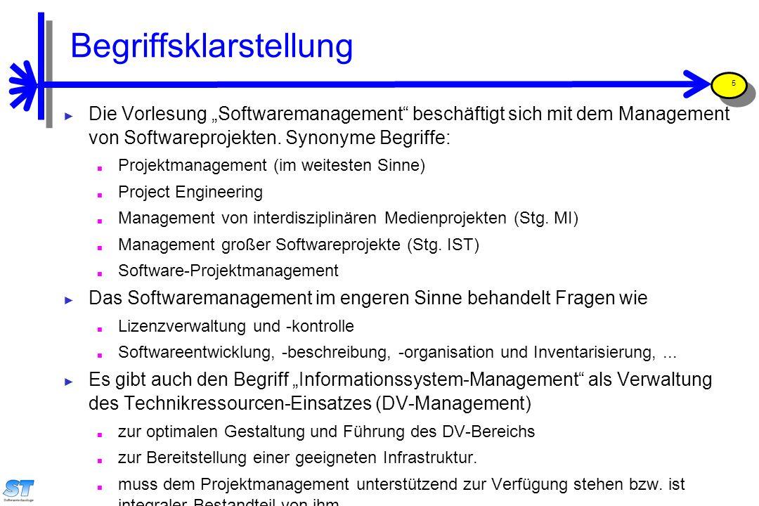 """Prof. Uwe Aßmann, Softwaremanagement 5 Begriffsklarstellung ► Die Vorlesung """"Softwaremanagement"""" beschäftigt sich mit dem Management von Softwareproje"""