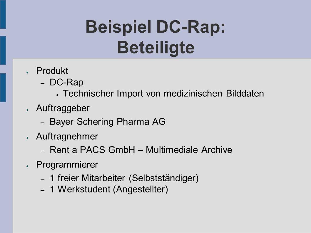 Beispiel DC-Rap: Beteiligte ● Produkt – DC-Rap ● Technischer Import von medizinischen Bilddaten ● Auftraggeber – Bayer Schering Pharma AG ● Auftragnehmer – Rent a PACS GmbH – Multimediale Archive ● Programmierer – 1 freier Mitarbeiter (Selbstständiger) – 1 Werkstudent (Angestellter)
