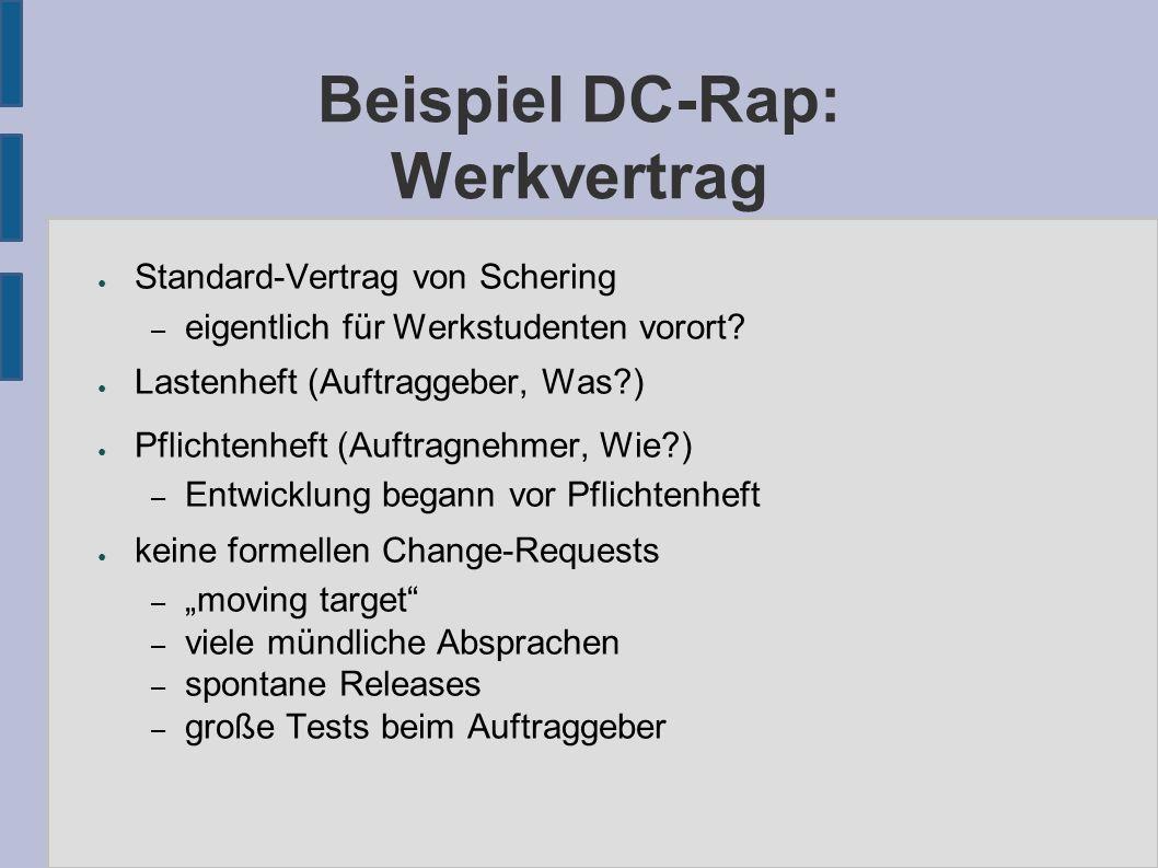 Beispiel DC-Rap: Werkvertrag ● Standard-Vertrag von Schering – eigentlich für Werkstudenten vorort.