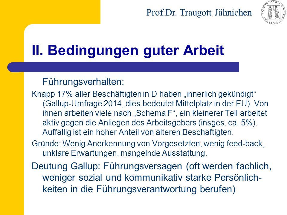 """Prof.Dr. Traugott Jähnichen II. Bedingungen guter Arbeit Führungsverhalten: Knapp 17% aller Beschäftigten in D haben """"innerlich gekündigt"""" (Gallup-Umf"""