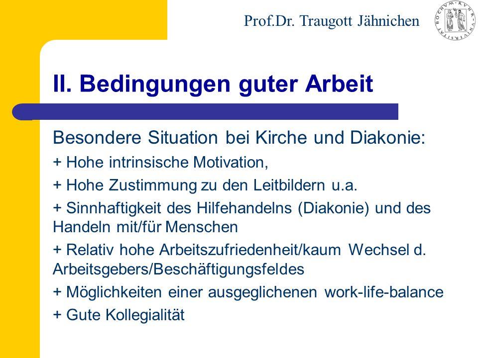 Prof.Dr. Traugott Jähnichen II. Bedingungen guter Arbeit Besondere Situation bei Kirche und Diakonie: + Hohe intrinsische Motivation, + Hohe Zustimmun