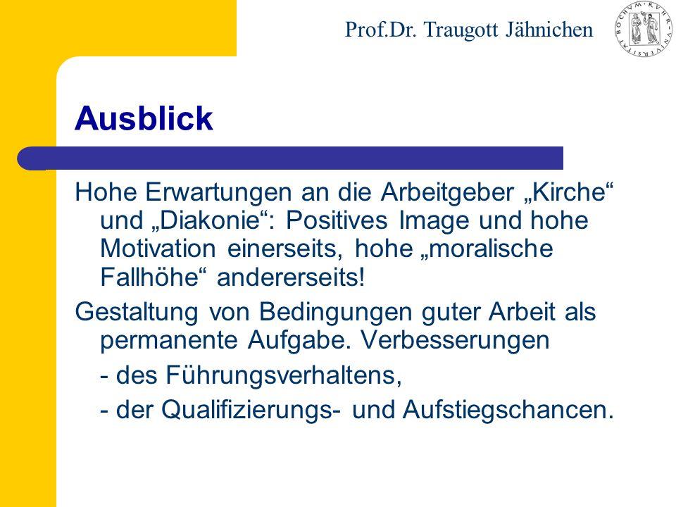 """Prof.Dr. Traugott Jähnichen Ausblick Hohe Erwartungen an die Arbeitgeber """"Kirche"""" und """"Diakonie"""": Positives Image und hohe Motivation einerseits, hohe"""