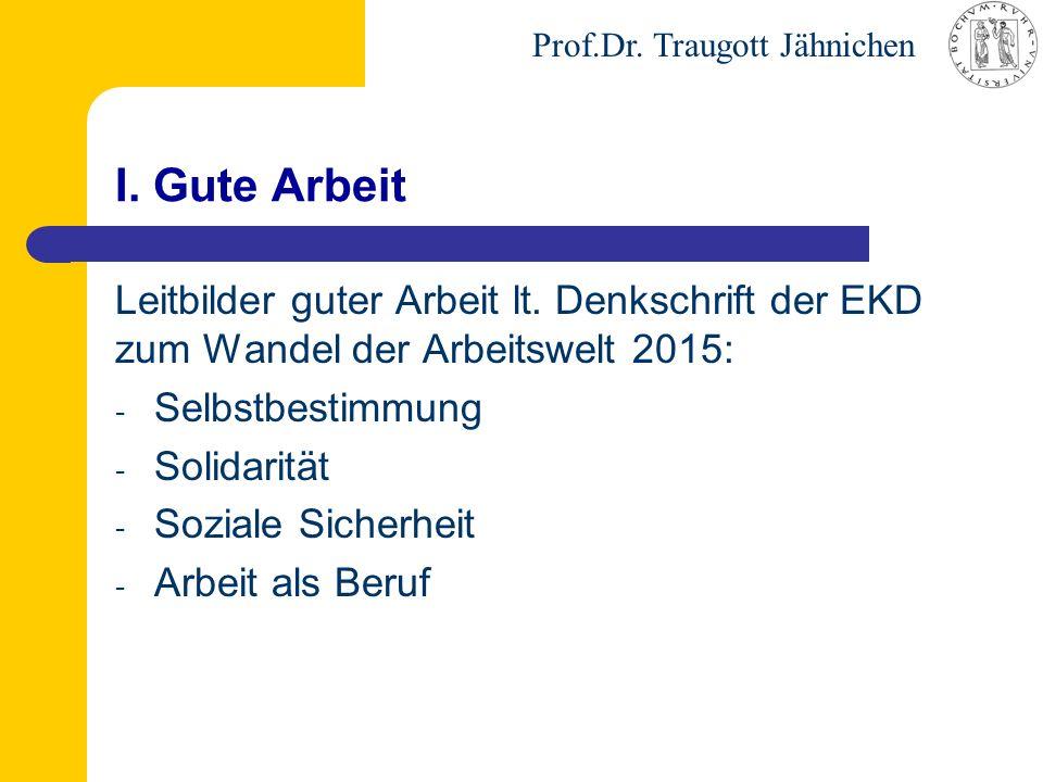 Prof.Dr. Traugott Jähnichen I. Gute Arbeit Leitbilder guter Arbeit lt. Denkschrift der EKD zum Wandel der Arbeitswelt 2015: - Selbstbestimmung - Solid