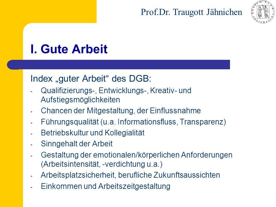 """Prof.Dr. Traugott Jähnichen I. Gute Arbeit Index """"guter Arbeit"""" des DGB: - Qualifizierungs-, Entwicklungs-, Kreativ- und Aufstiegsmöglichkeiten - Chan"""