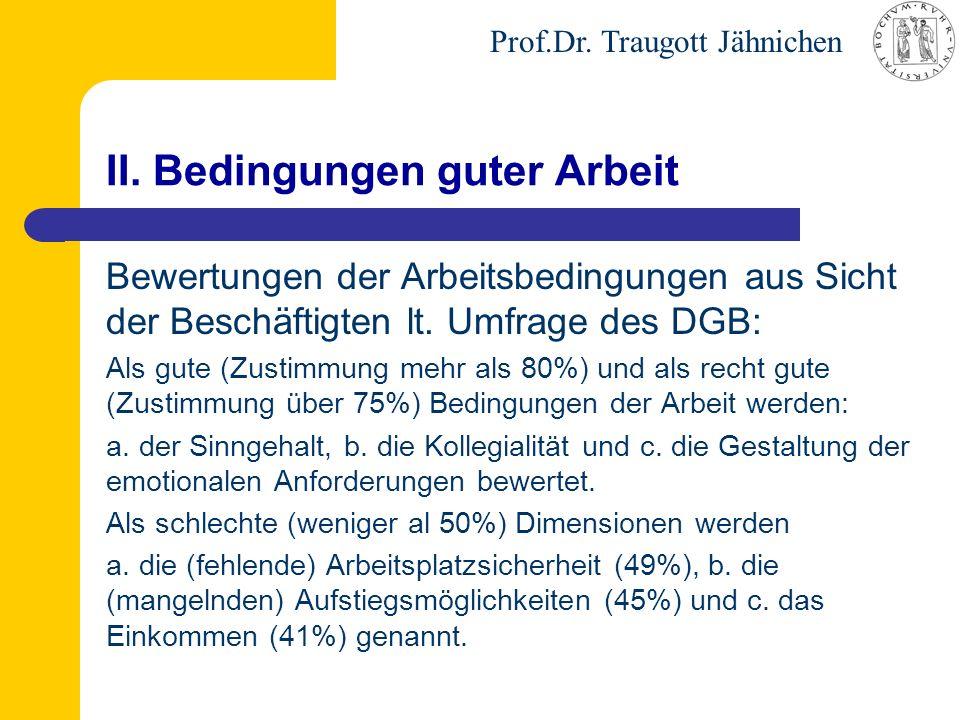 Prof.Dr. Traugott Jähnichen II. Bedingungen guter Arbeit Bewertungen der Arbeitsbedingungen aus Sicht der Beschäftigten lt. Umfrage des DGB: Als gute