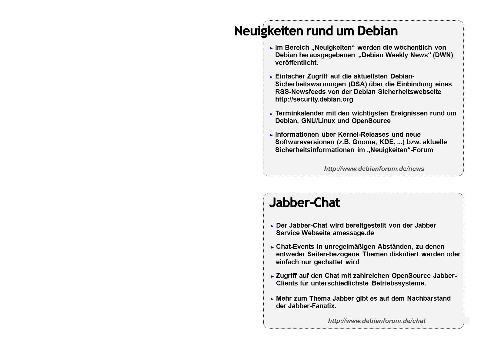 """Neuigkeiten rund um Debian ► Im Bereich """"Neuigkeiten werden die wöchentlich von Debian herausgegebenen """"Debian Weekly News (DWN) veröffentlicht."""