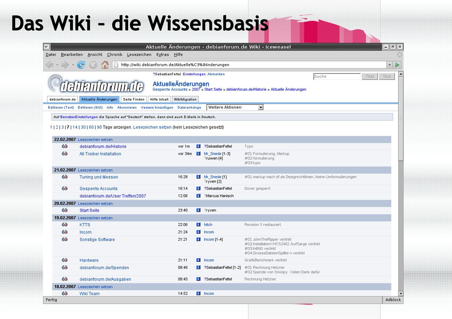 Chronik ● 17.03.2001: debianforum.de wird nach einem Posting auf der debian- user-de Mailingliste eingerichtet und basiert vorerst auf phpNuke ● 20.12.2001: die Seite wird auf phpBB 2.0 umgestellt und erhält ein neues Design ● 09.07.2002: Erstmalige Erwähnung in den Debian Weekly News 26/2002.