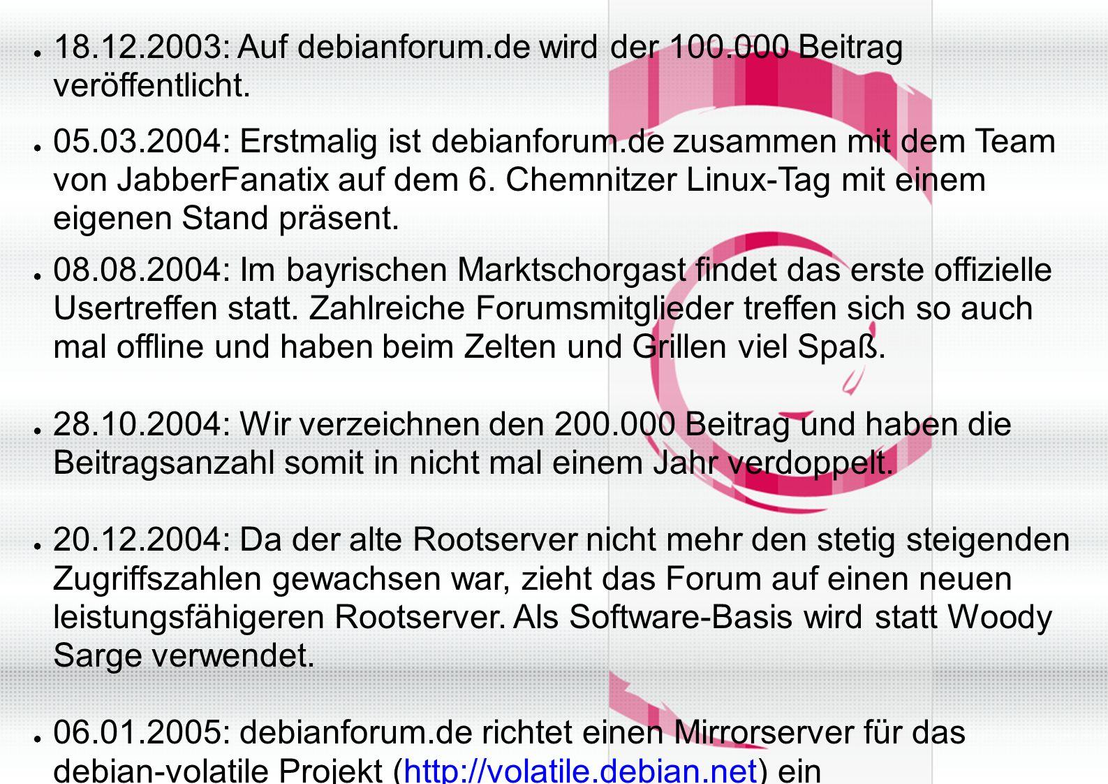 ● 18.12.2003: Auf debianforum.de wird der 100.000 Beitrag veröffentlicht.