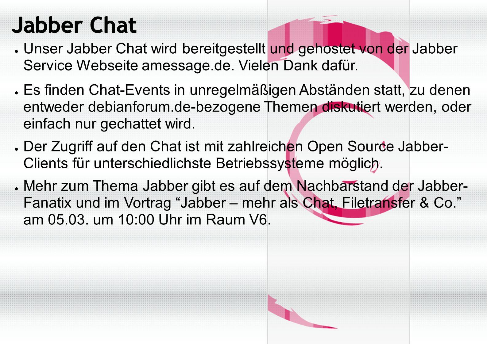 Jabber Chat ● Unser Jabber Chat wird bereitgestellt und gehostet von der Jabber Service Webseite amessage.de.