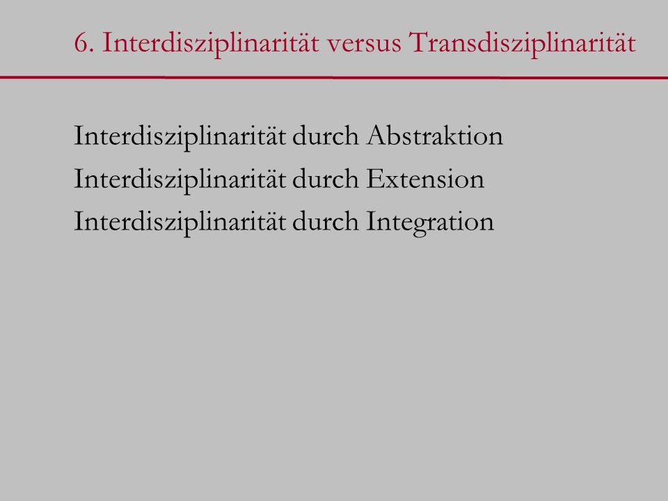 6. Interdisziplinarität versus Transdisziplinarität Interdisziplinarität durch Abstraktion Interdisziplinarität durch Extension Interdisziplinarität d