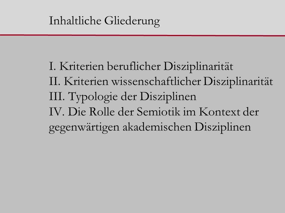 Inhaltliche Gliederung I. Kriterien beruflicher Disziplinarität II.