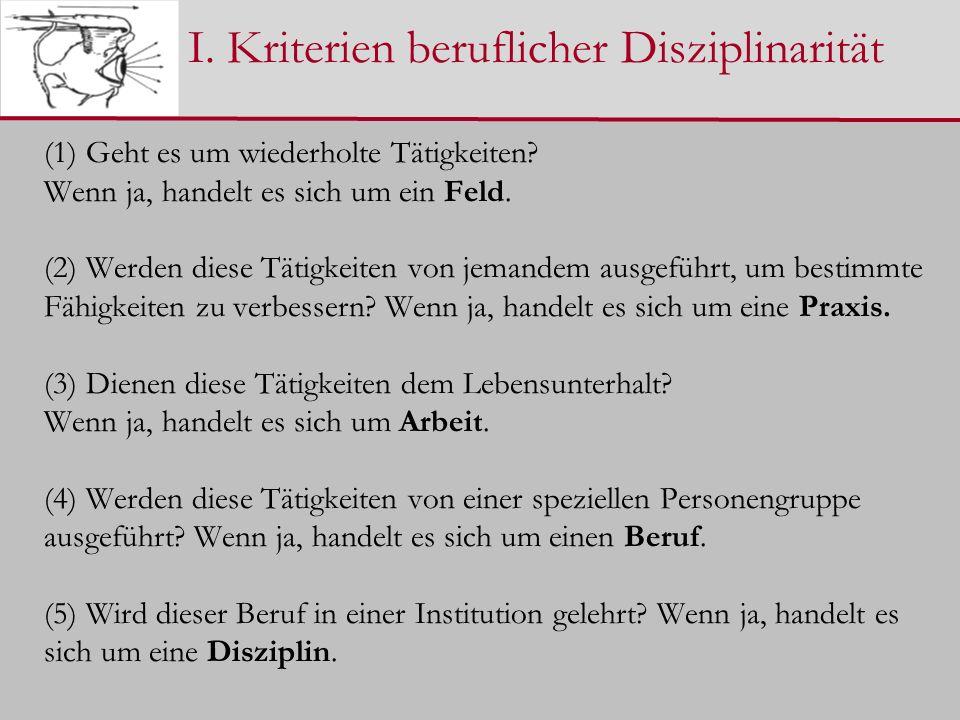I. Kriterien beruflicher Disziplinarität (1) Geht es um wiederholte Tätigkeiten.