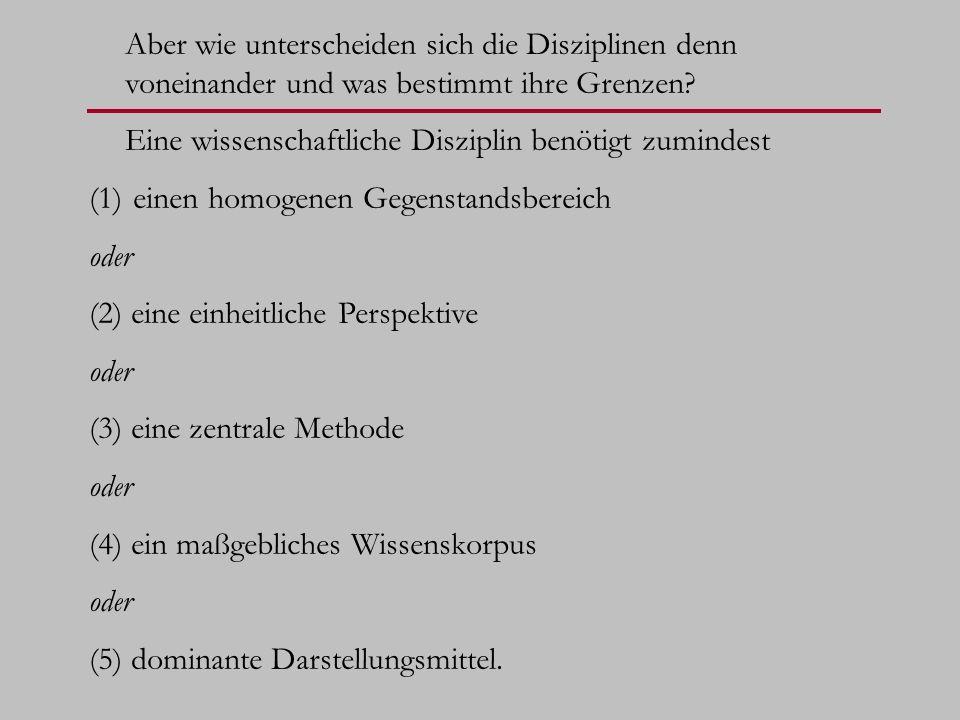 Als Ergebnis können wir festhalten, dass ein Untersuchungsfeld genau dann eine wissenschaftliche Disziplin ist, (A1) wenn es einen festen Gegenstandsbereich hat, der in seiner Gesamtheit untersucht wird und (A2) wenn es eine spezifische Menge wertfreier Perspektiven hat und (A3) wenn es eine Menge von Methoden hat, die wiederholt anwendbar sind und (A4) wenn es eine Theorie besitzt, die falsifizierbar ist und (A5) Darstellungsmittel, die intersubjektiv verständlich sind; und außerdem wenn seine Grenzen festgelegt sind mit Bezug auf (B1) die Homogenität des Gegenstandsbereichs oder (B2) die Einheitlichkeit seiner Perspektiven oder (B3) die zentrale Rolle einer seiner Methoden oder (B4) ein maßgebliches Wissenskorpus oder (B5) dominante Darstellungsmittel.