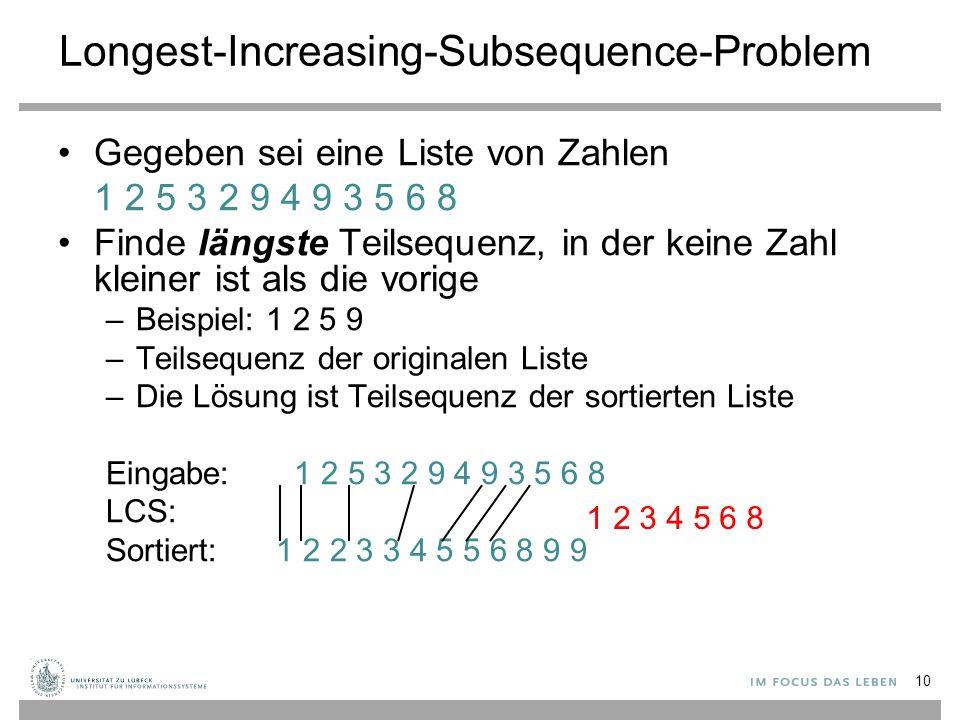 Longest-Increasing-Subsequence-Problem Gegeben sei eine Liste von Zahlen 1 2 5 3 2 9 4 9 3 5 6 8 Finde längste Teilsequenz, in der keine Zahl kleiner ist als die vorige –Beispiel: 1 2 5 9 –Teilsequenz der originalen Liste –Die Lösung ist Teilsequenz der sortierten Liste Eingabe: 1 2 5 3 2 9 4 9 3 5 6 8 LCS: Sortiert: 1 2 2 3 3 4 5 5 6 8 9 9 1 2 3 4 5 6 8 10