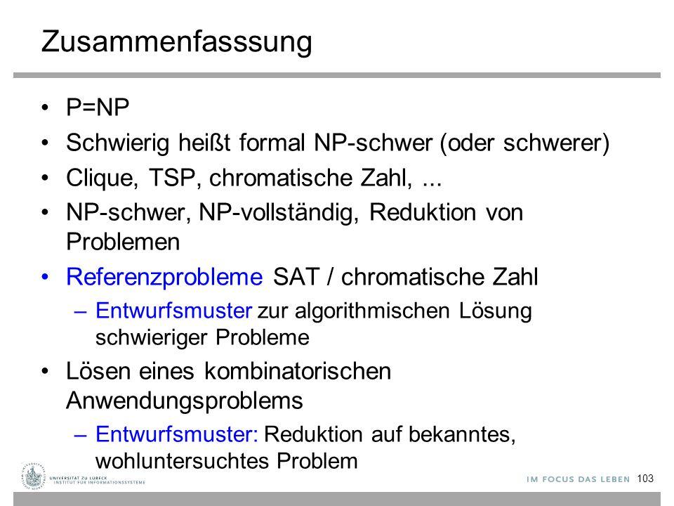 Zusammenfasssung P=NP Schwierig heißt formal NP-schwer (oder schwerer) Clique, TSP, chromatische Zahl,...