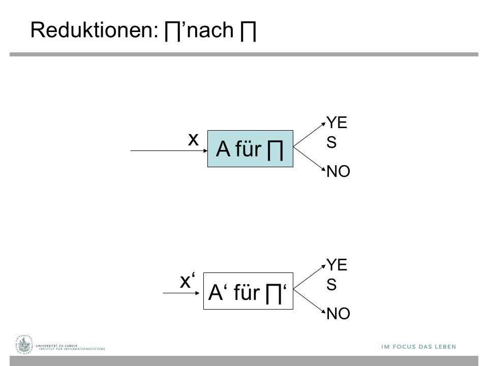 Reduktionen: ∏ ' nach ∏ A für ∏ YE S NO x A' für ∏' YE S NO x'x'