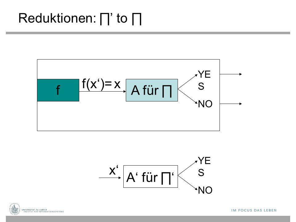 Reduktionen: ∏ ' to ∏ A für ∏ YE S NO f f(x')= A' für ∏' x YE S NO x'x'