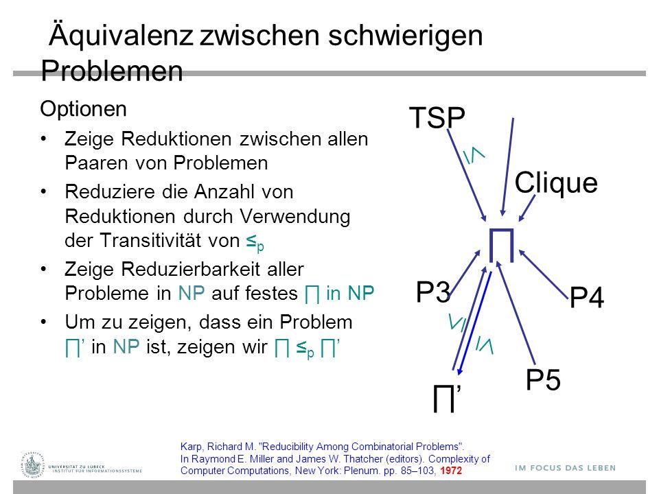 Äquivalenz zwischen schwierigen Problemen Optionen Zeige Reduktionen zwischen allen Paaren von Problemen Reduziere die Anzahl von Reduktionen durch Verwendung der Transitivität von ≤ p Zeige Reduzierbarkeit aller Probleme in NP auf festes ∏ in NP Um zu zeigen, dass ein Problem ∏' in NP ist, zeigen wir ∏ ≤ p ∏' TSP P3 P4 Clique P5 ∏ ∏'∏'    Karp, Richard M.