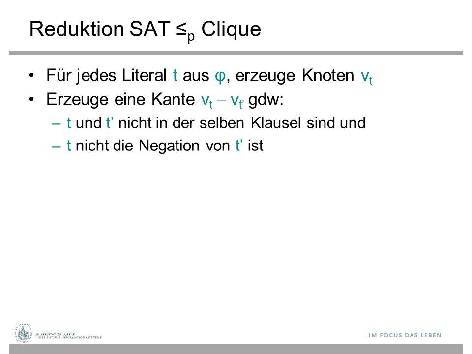 Reduktion SAT ≤ p Clique Für jedes Literal t aus φ, erzeuge Knoten v t Erzeuge eine Kante v t – v t ' gdw: – t und t' nicht in der selben Klausel sind und – t nicht die Negation von t' ist