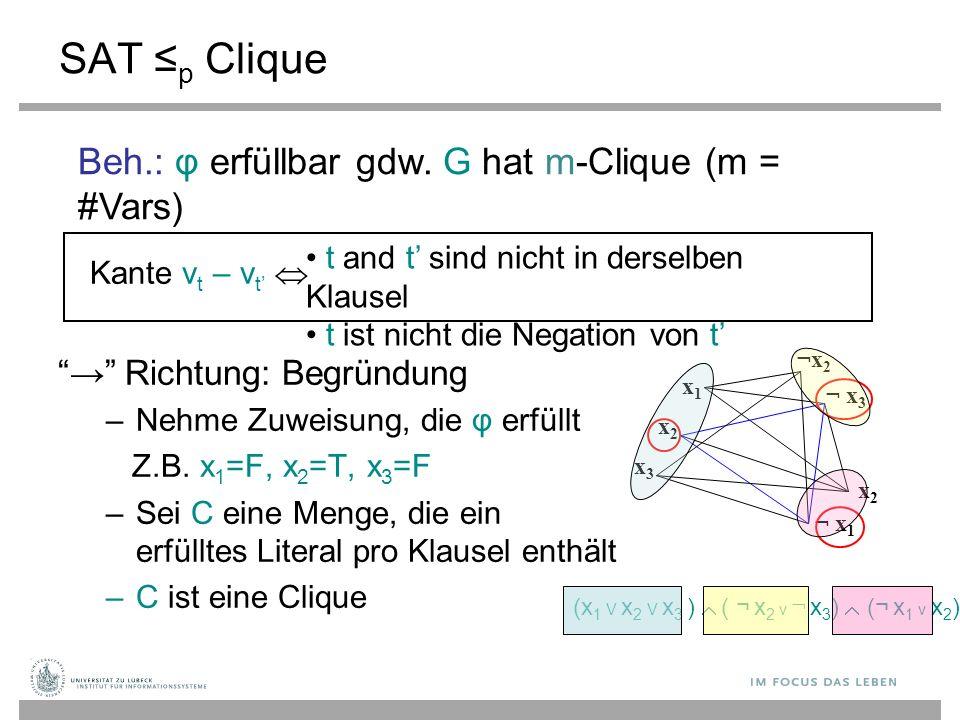 SAT ≤ p Clique → Richtung: Begründung – Nehme Zuweisung, die φ erfüllt Z.B.