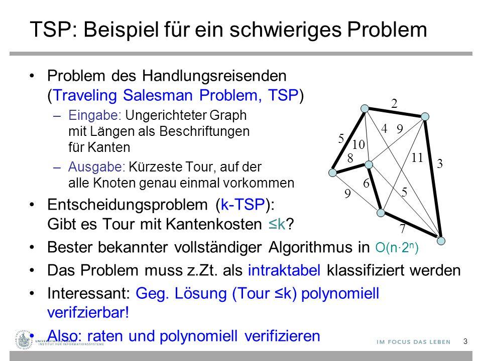 Karps 21 NP-vollständige Probleme (1972) SATISFIABILITY: das Erfüllbarkeitsproblem der Aussagenlogik für Formeln in Konjunktiver NormalformErfüllbarkeitsproblem der Aussagenlogik für Formeln in Konjunktiver Normalform CLIQUE: CliquenproblemCliquenproblem SET PACKING: MengenpackungsproblemMengenpackungsproblem VERTEX COVER: KnotenüberdeckungsproblemKnotenüberdeckungsproblem SET COVERING: MengenüberdeckungsproblemMengenüberdeckungsproblem FEEDBACK ARC SET: Feedback Arc SetFeedback Arc Set FEEDBACK NODE SET: Feedback Vertex SetFeedback Vertex Set DIRECTED HAMILTONIAN CIRCUIT: siehe HamiltonkreisproblemHamiltonkreisproblem UNDIRECTED HAMILTONIAN CIRCUIT: siehe HamiltonkreisproblemHamiltonkreisproblem 0-1 INTEGER PROGRAMMING: siehe Integer Linear ProgrammingInteger Linear Programming 3-SAT: siehe 3-SAT3-SAT CHROMATIC NUMBER: graph coloring problemgraph coloring problem CLIQUE COVER: CliquenproblemCliquenproblem EXACT COVER: Problem der exakten ÜberdeckungProblem der exakten Überdeckung 3-dimensional MATCHING: 3-dimensional matching (Stable Marriage mit drei Geschlechtern)3-dimensional matching (Stable Marriage mit drei Geschlechtern) STEINER TREE: SteinerbaumproblemSteinerbaumproblem HITTING SET: Hitting-Set-ProblemHitting-Set-Problem KNAPSACK: 0-1-RucksackproblemRucksackproblem JOB SEQUENCING: Job sequencingJob sequencing PARTITION: PartitionsproblemPartitionsproblem MAX-CUT: Maximaler SchnittMaximaler Schnitt 24 Seit 1972 wurden mehr als 10000 Probleme als NP-vollständig charakteristiert Maximaler, nicht minimaler Schnitt