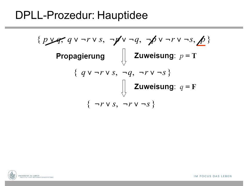 Zuweisung: p = T DPLL-Prozedur: Hauptidee Propagierung Zuweisung: q = F