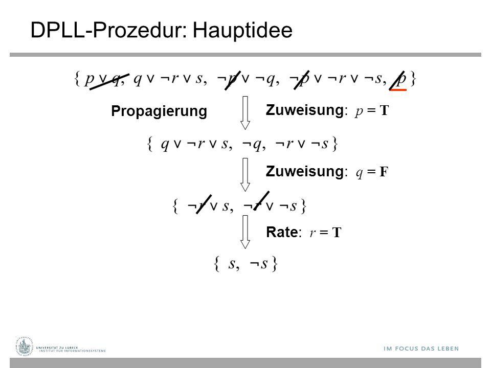 Zuweisung: p = T DPLL-Prozedur: Hauptidee Propagierung Zuweisung: q = F Rate: r = T