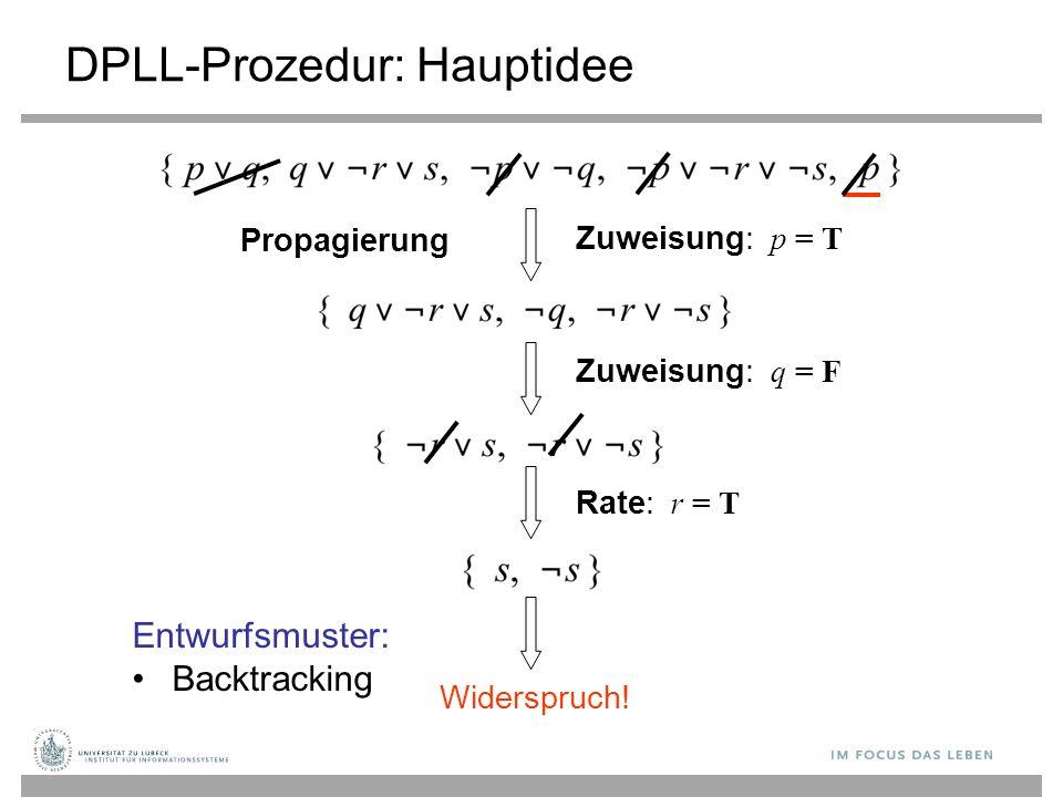 Zuweisung: p = T DPLL-Prozedur: Hauptidee Propagierung Zuweisung: q = F Rate: r = T Widerspruch.