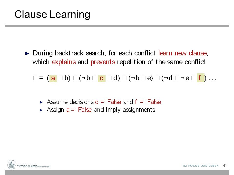 Clause Learning 41