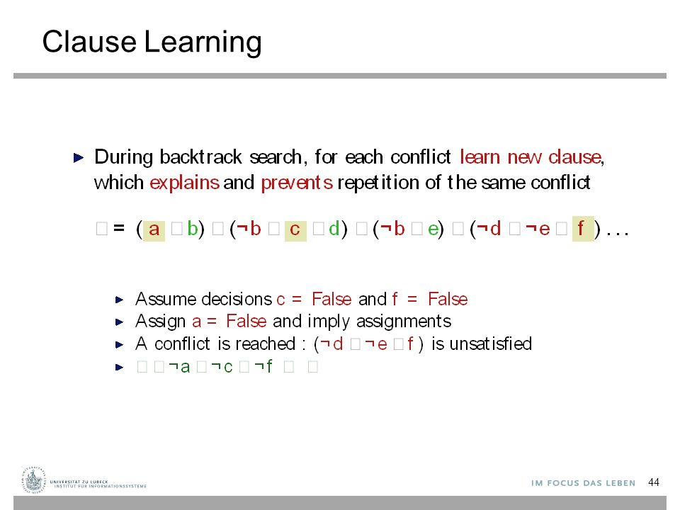 Clause Learning 44