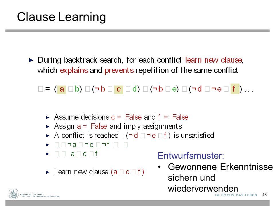 Clause Learning 46 Entwurfsmuster: Gewonnene Erkenntnisse sichern und wiederverwenden