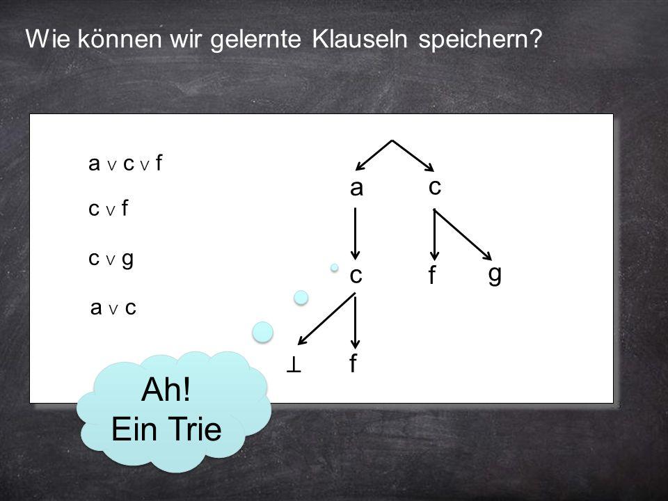 58 Wie können wir gelernte Klauseln speichern. a ∨ c ∨ f a c f c ∨ f c f c ∨ g g a ∨ c ⊥ Ah.