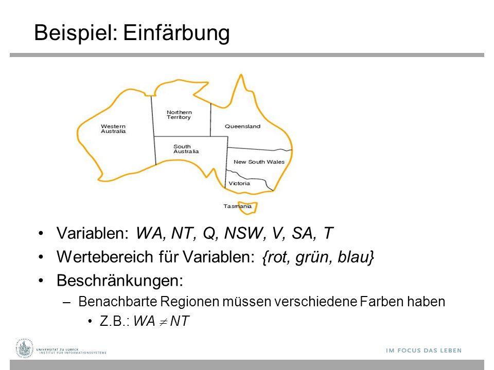 Beispiel: Einfärbung Variablen: WA, NT, Q, NSW, V, SA, T Wertebereich für Variablen: {rot, grün, blau} Beschränkungen: –Benachbarte Regionen müssen verschiedene Farben haben Z.B.: WA  NT