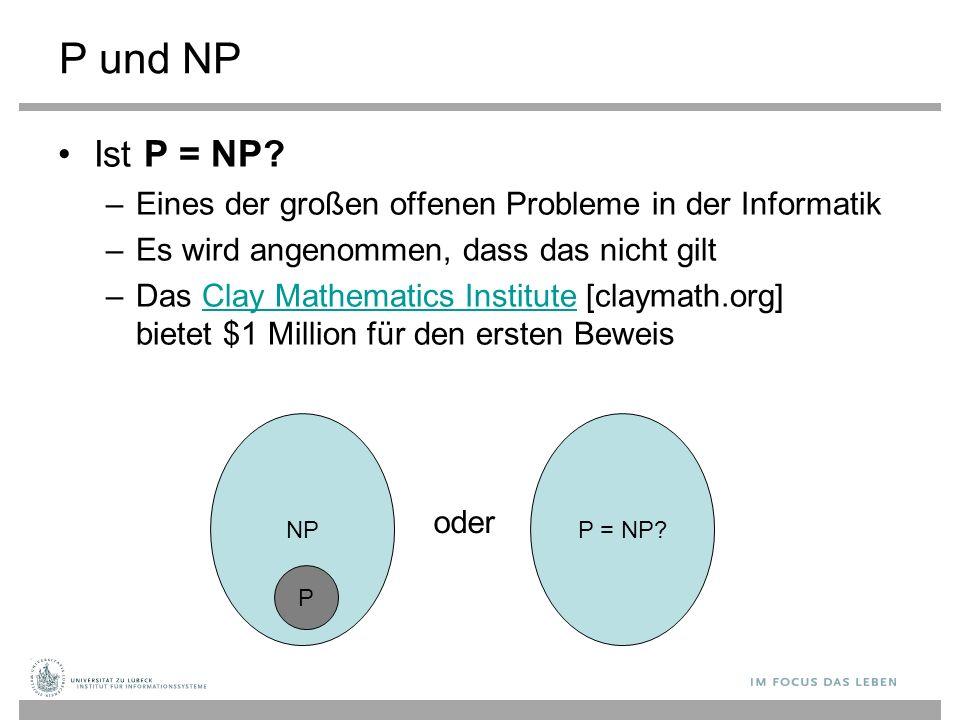 Reduktionen ∏' ist Polynomialzeit-reduzierbar auf ∏ (∏' ≤ p ∏) genau dann, wenn es eine polynomielle Funktion f zur Abbildung von Eingaben x' für ∏' in Eingaben x für ∏, so dass für jedes x' gilt, dass ∏' (x') = ∏(f(x')) Falls ∏  P und ∏' ≤ p ∏ dann ∏'  P Falls ∏  NP und ∏' ≤ p ∏ dann ∏'  NP Falls ∏'' ≤ p ∏' and ∏' ≤ p ∏ then ∏'' ≤ p ∏ (Transitivität)