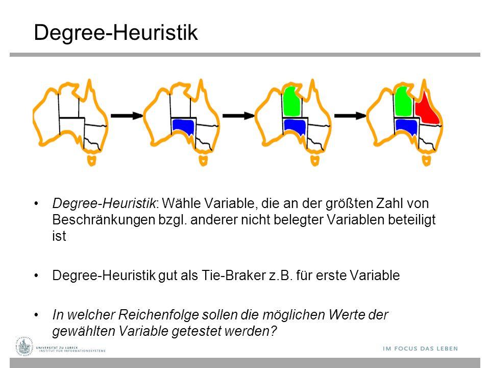 Degree-Heuristik Degree-Heuristik: Wähle Variable, die an der größten Zahl von Beschränkungen bzgl.