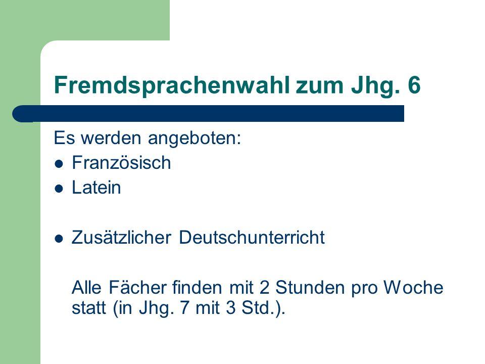 Fremdsprachenwahl zum Jhg.