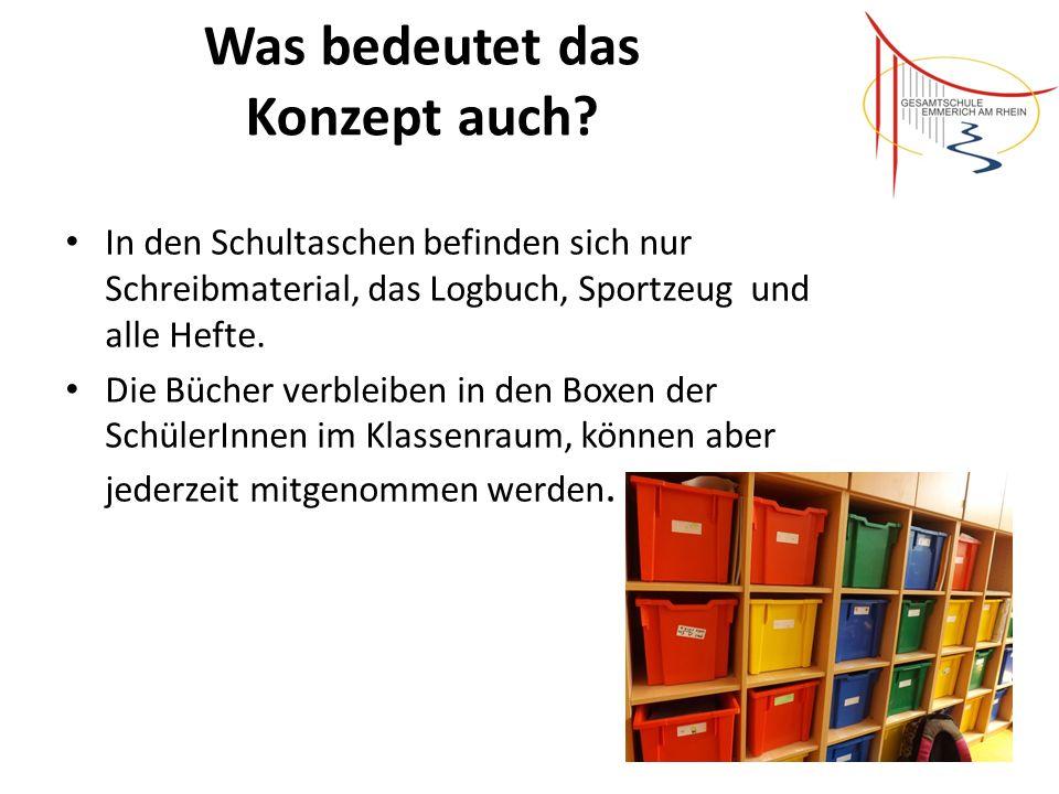 Was bedeutet das Konzept auch? In den Schultaschen befinden sich nur Schreibmaterial, das Logbuch, Sportzeug und alle Hefte. Die Bücher verbleiben in