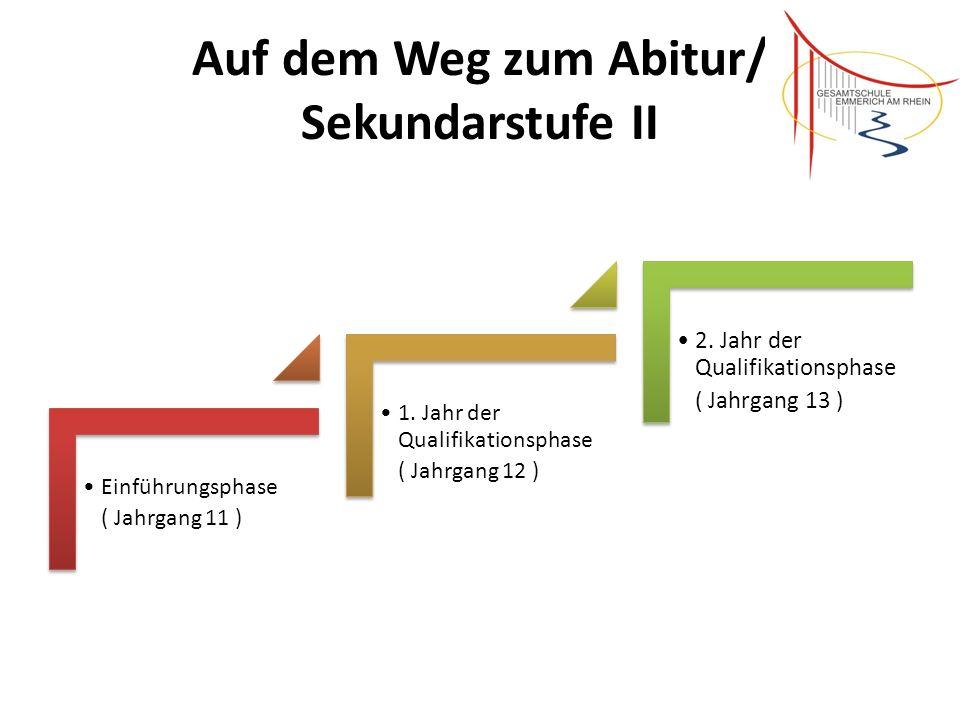 Auf dem Weg zum Abitur/ Sekundarstufe II Einführungsphase ( Jahrgang 11 ) 1. Jahr der Qualifikationsphase ( Jahrgang 12 ) 2. Jahr der Qualifikationsph