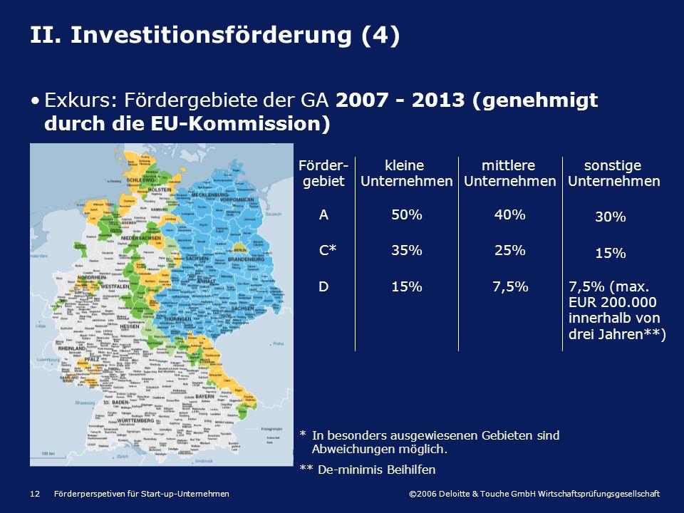 ©2006 Deloitte & Touche GmbH Wirtschaftsprüfungsgesellschaft Förderperspetiven für Start-up-Unternehmen12 II. Investitionsförderung (4) Exkurs: Förder
