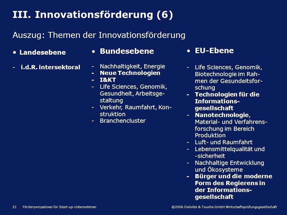 ©2006 Deloitte & Touche GmbH Wirtschaftsprüfungsgesellschaft Förderperspetiven für Start-up-Unternehmen21 Landesebene -i.d.R. intersektoral Bundeseben