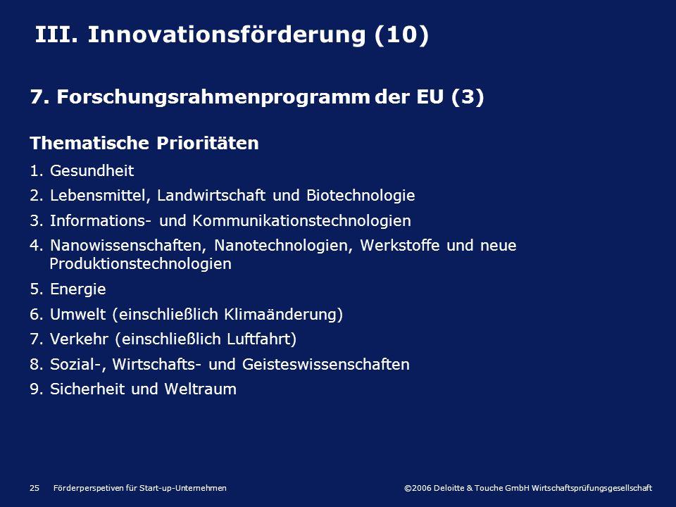 ©2006 Deloitte & Touche GmbH Wirtschaftsprüfungsgesellschaft Förderperspetiven für Start-up-Unternehmen25 Thematische Prioritäten 1. Gesundheit 2. Leb