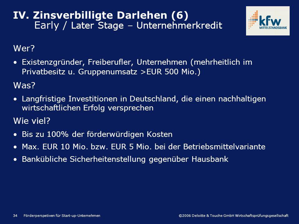 ©2006 Deloitte & Touche GmbH Wirtschaftsprüfungsgesellschaft Förderperspetiven für Start-up-Unternehmen34 Wer? Existenzgründer, Freiberufler, Unterneh